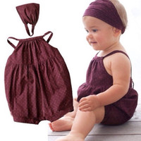 Deep red baby suit/ Denim harnesses/ Head belt+ baby romper with round dots