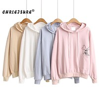 CHRLEISURE Women Hoodies Sweatshirts long sleeve Autumn solid loose pocket embroidery Loose cotton Pullover Sweatshirt For Women