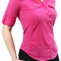 Career Roll Up Sleeve Fitted Slim Button Down Blouse Shirt