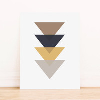 Triangle Brown Gold and Black Geometric Art PRINTABLE Art Dorm Decor Typography Poster Home Decor Office Decor Apartment Poster