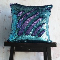 Aqua & Purple Sequin Mermaid Pillow
