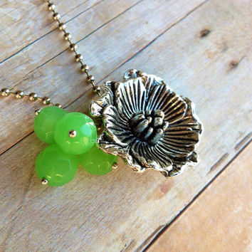 Silver Flower Necklace, Green Beads
