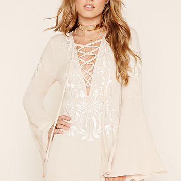 Lace-Up Bell-Sleeve Dress