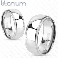 8mm Line Grooved Edge with Dome Center Wedding Band Solid Titanium Men' Ring