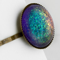 Supernova Large Round Hair Pin - Purple and Rainbow Holographic Hair Clip