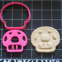 Mario Inspired Mushroom Cookie Cutter Stamp Set Retro Pink BPA FREE