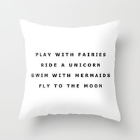 Play With Fairies Throw Pillow