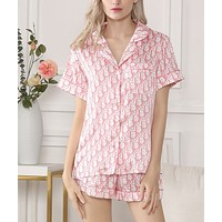 DIOR Hot Sale Women Print Comfortable Silk Short Sleeve Pajamas Home Wear Pink