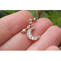 Dangling Crescent Moon Rose Gold Helix Cartilage Tragus Earring Piercing 16g