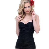 Large Size Stretchy One Piece Swimsuit