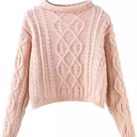Pink Mock Neck Knitted Cropped Sweater