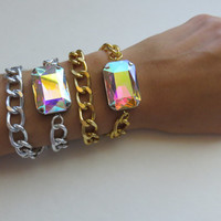 Silver OR Gold AB Crystal and Chain Double Wrap Bracelet / Aurora Borealis Stone Trendy statement stack Jewelry bridesmaid, bridesmaids gift
