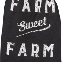Farm Sweet Farm - Life Is Better On The Farm - Black Cotton Kitchen Towel with Distressed White Print - 28-in