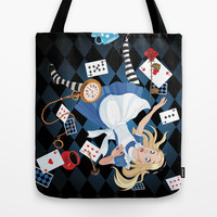Wonderland Alice Going Down the Hole Tote Bag by Cabinet Of Pretty Things