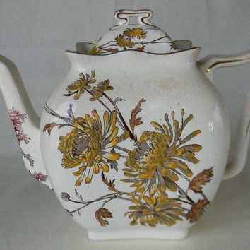 Circa 1887 Antique  English Transferware Aesthetic Movement Teapot Tea Pot George Jones Chrysanthemum