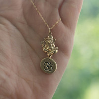 Gold Ganesh Om Necklace - Yoga Jewelry . Bronze Charms on 14K Gold-Filled Chain . Outdoor & Sportsman . Gift Ideas for Her