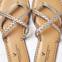 AEO Women's Strappy Braided Sandal (Rose Gold)