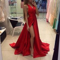 Stylish red long prom dress, A-line V-neck prom dresses,evening dresses from Dream Prom