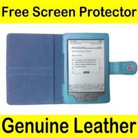 """Mochie (TM) GENUINE LEATHER Pouch Case Cover for Latest Generation 2011 Amazon Kindle 4 Wi-Fi 6"""" E Ink Display (4th Generation 6"""" Kindle Wi-Fi w/o Keyboard, NON TOUCH Version) Blue"""