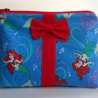 Ariel Makeup Bag / The Little Mermaid Cosmetics Pouch / Under the Sea / Cosmetic Clutch / Glitter