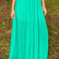 All Flaired Up Maxi Skirt-Teal