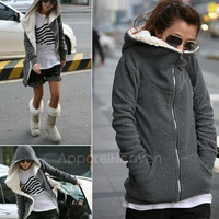 Fashion Women's Zip Up Tops Hoodie Coat Jacket Outerwear Sweatshirt AP