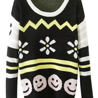 ROMWE | Snow and Smile Knitted Striped Jumper, The Latest Street Fashion
