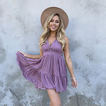 Kiss The Day Halter Summer Dress in Lavender