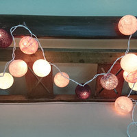 String Lights - Earth Tone Cotton Ball, wall hanging, Home decor, holidays decoration, holidays favor