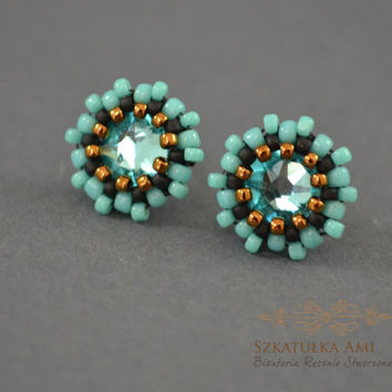 Thumbnails  turquoise, crystal swarovski, effect ab small earrings,  turquoise earrings, cute earrings, seed beads earrings, christmas gifts