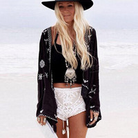 Retro Embroidery Snow Flower Crotoch Lace Hem Cardigan Kimono Shirt 2015 Brand Show style New Women's Beach Holiday Blouse Tops