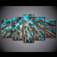 5 Panel Giant Trees Forest Wall Art Canvas Picture for Living Room Framed UNfram