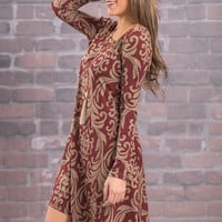 Always On The Go L/S Dress, Wine