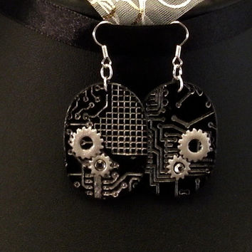 Dangle Earrings: Cyber Goth, Steampunk, cogs with crystals