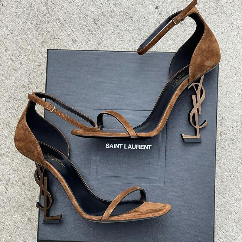 Image of Saint Laurent Pairs YSL Cusp high-heeled shoes