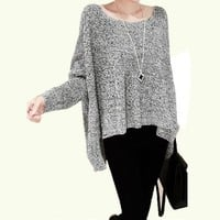LookbookStore Autumn Knit Wing Pattern Dolman Sleeves Cotton Women's Sweater US 4