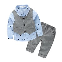 Baby Boys clothing set Gentleman Suits Infant born Baby Clothes Sets Kids Waistcoat+Shirt+Pants Children Suits