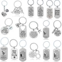 Stainless Steel Keychain Inspirational Gift For Dad Mom Daughter Son Teacher Dog Tag Key Chains Family Best Friends Keyring