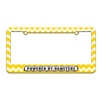 Powered By Hamsters - License Plate Tag Frame - Yellow Chevrons Design