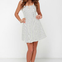 Striped My Fancy Black and Cream Striped Dress