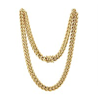 "Men's Stainless Steel 12mm Miami Cuban Link 14k Gold Finish Chain 24"" Plain Designer Necklace"