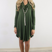 Crown Heights Olive Cowl Neck Long Sleeve Curved Hem Dress
