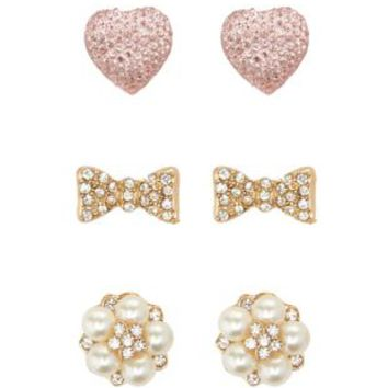 Heart, Bow & Pearl Stud Earrings - 3 Pack - Lt Pink