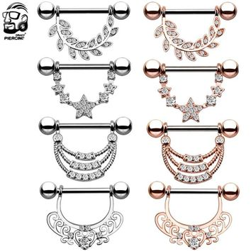 2Pcs Fashion Stainless Steel Rose Gold Nipple Barbell U Shaped Water Drop Silver Sexy Nipple Ring Women Body Piercing Jewelry