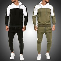 Mens Tracksuit Jogging Suit Side Stripe Hoodies Set Man Fleece Hoodies and pants Male Work Out Clothes Jogger Set Gym Clothing