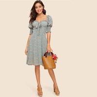 Vintage Bow Knot Front Shirred Sleeve Floral Dress Women Square Neck Puff Sleeve Pastoral Midi Dress Lady Dress