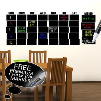 Monthly Chalkboard Wall Decal Planner