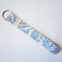 Paisley Pattern Fabric Keychain/  Fabric key fob/ Fabric Key ring, with cotton lace