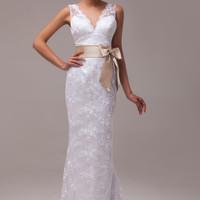 White Deep V-Neck Bow Backless Lace Gown