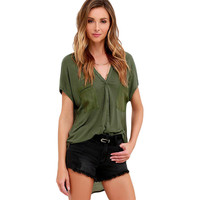 Gentle Fawn Olive Green Top LAVELIQ